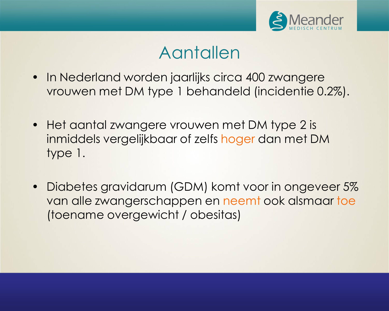 Aantallen In Nederland worden jaarlijks circa 400 zwangere vrouwen met DM type 1 behandeld (incidentie 0.2%).