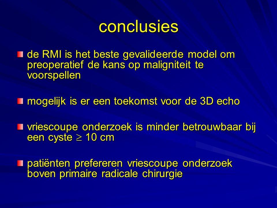 conclusies de RMI is het beste gevalideerde model om preoperatief de kans op maligniteit te voorspellen.
