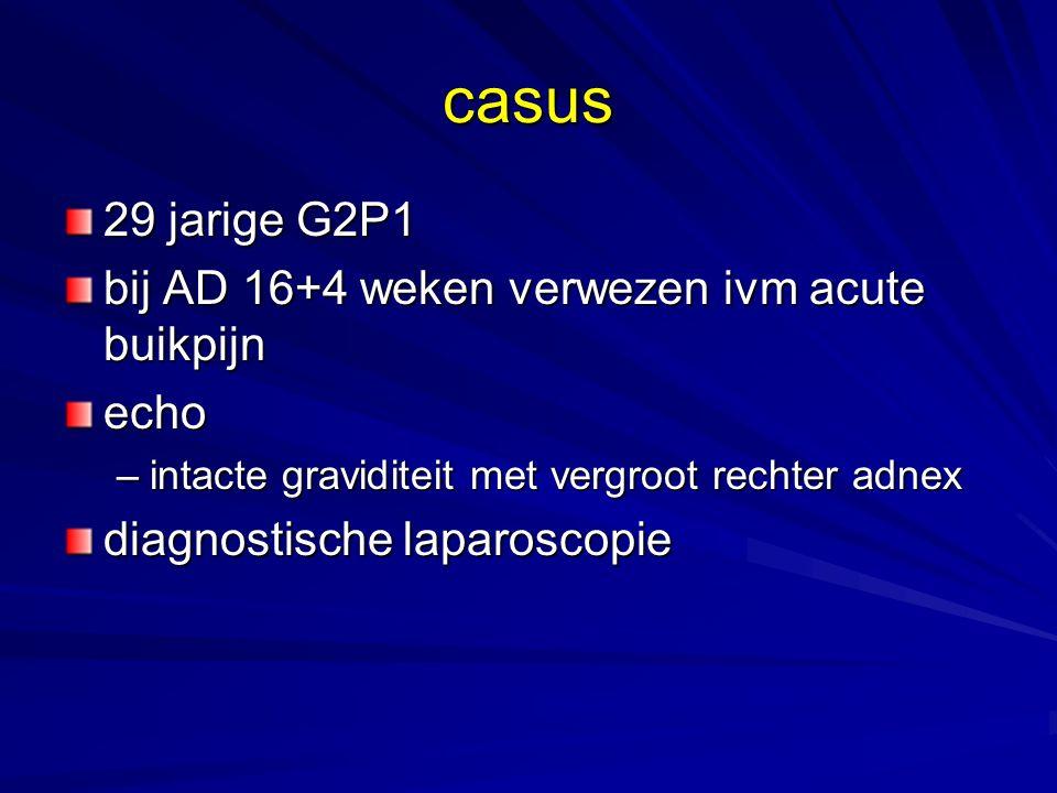 casus 29 jarige G2P1 bij AD 16+4 weken verwezen ivm acute buikpijn
