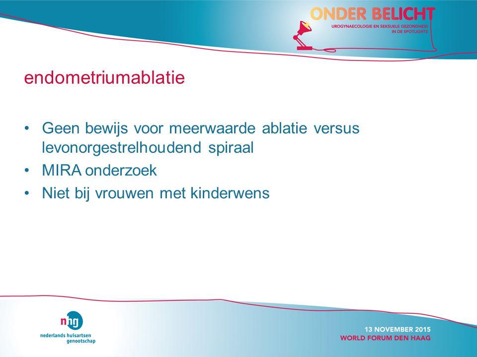 endometriumablatie Geen bewijs voor meerwaarde ablatie versus levonorgestrelhoudend spiraal. MIRA onderzoek.