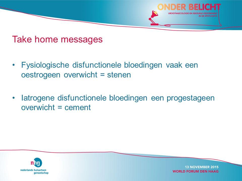 Take home messages Fysiologische disfunctionele bloedingen vaak een oestrogeen overwicht = stenen.