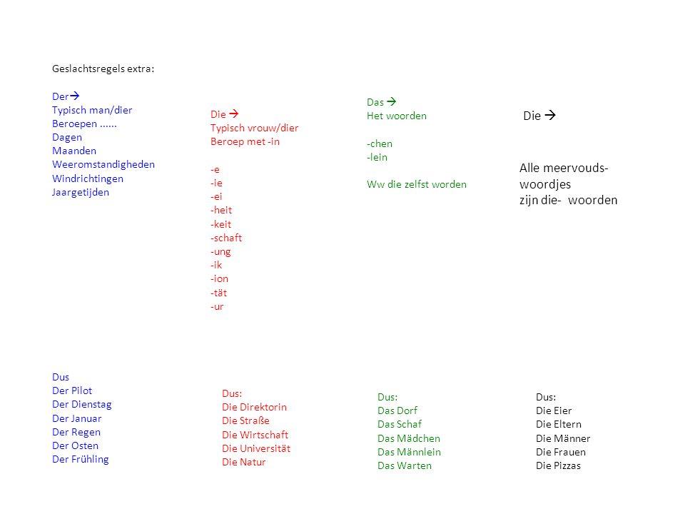 Alle meervouds-woordjes zijn die- woorden