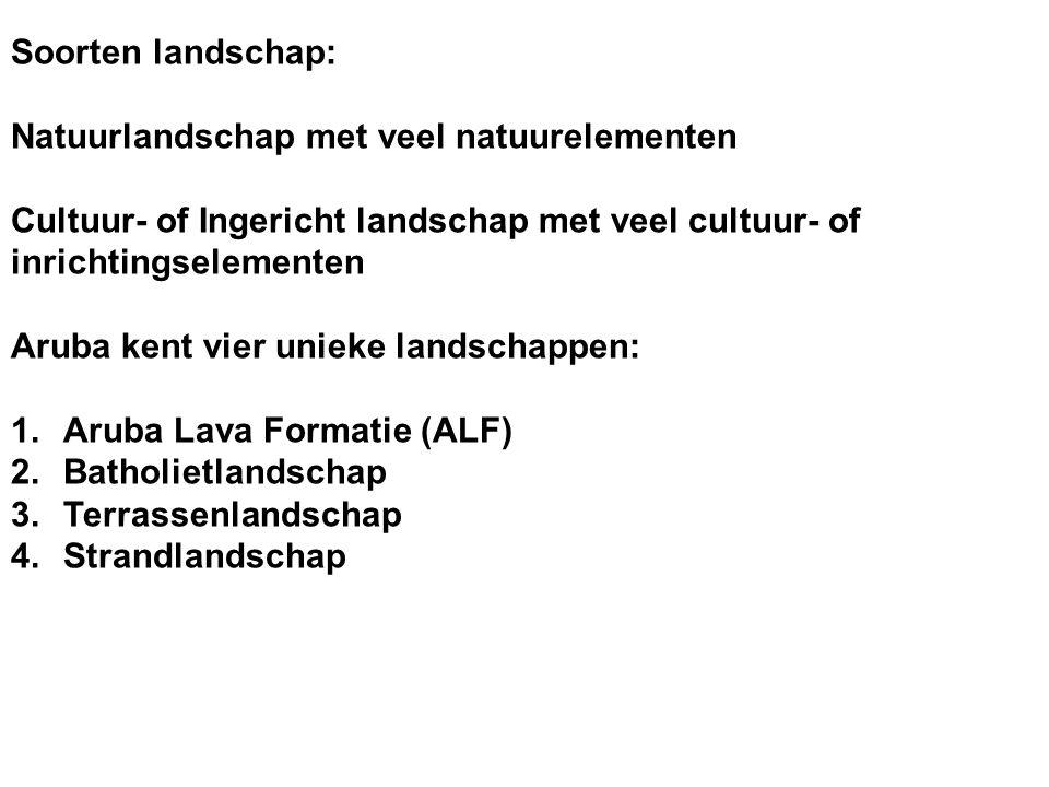 Soorten landschap: Natuurlandschap met veel natuurelementen. Cultuur- of Ingericht landschap met veel cultuur- of inrichtingselementen.
