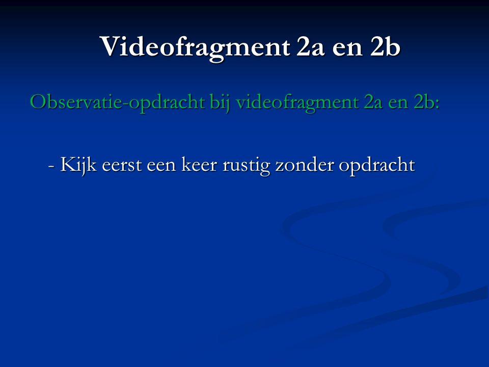 Videofragment 2a en 2b Observatie-opdracht bij videofragment 2a en 2b: - Kijk eerst een keer rustig zonder opdracht
