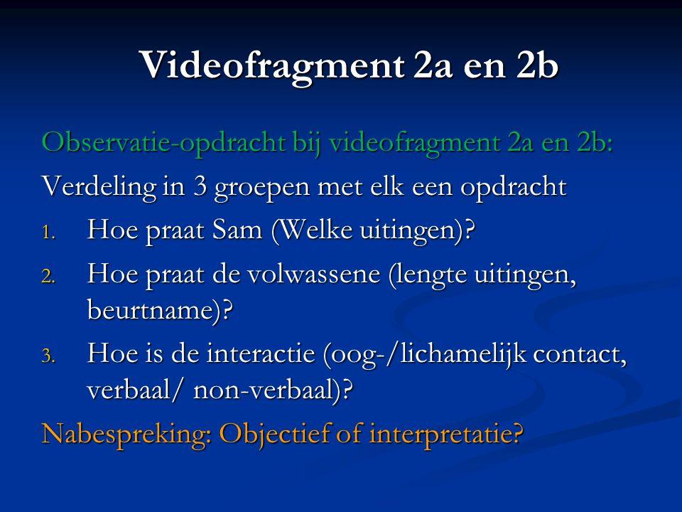 Videofragment 2a en 2b Observatie-opdracht bij videofragment 2a en 2b:
