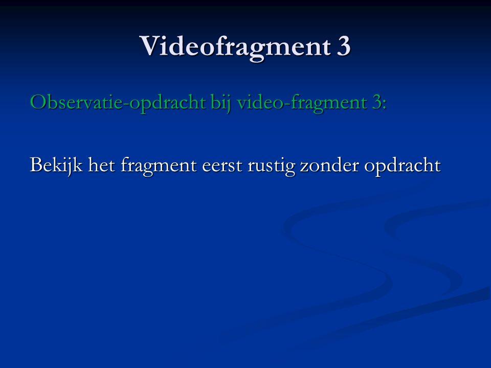 Videofragment 3 Observatie-opdracht bij video-fragment 3: Bekijk het fragment eerst rustig zonder opdracht
