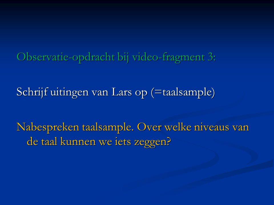 Observatie-opdracht bij video-fragment 3: