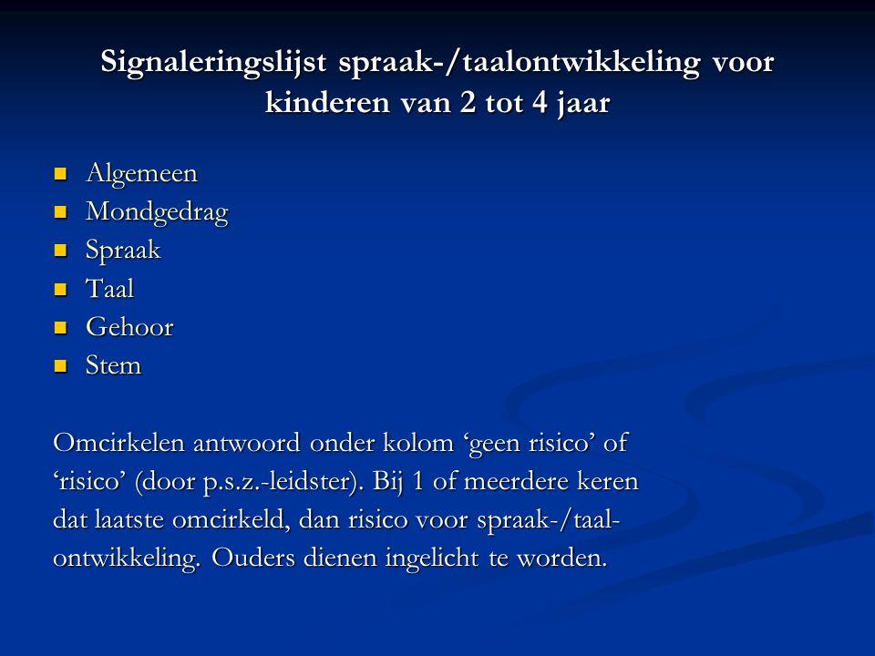 Signaleringslijst spraak-/taalontwikkeling voor kinderen van 2 tot 4 jaar
