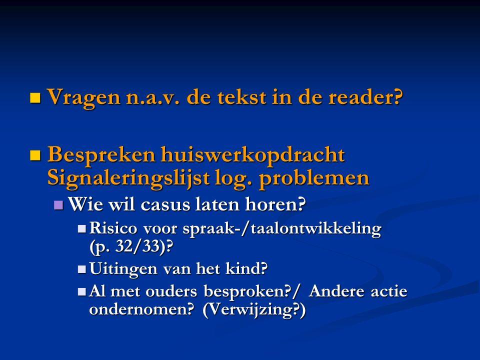 Vragen n.a.v. de tekst in de reader