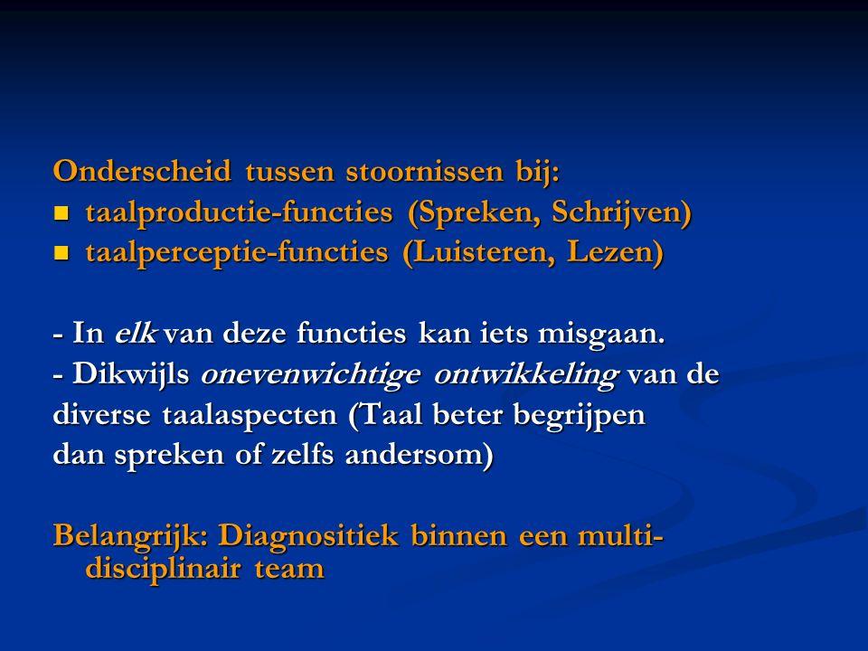 Onderscheid tussen stoornissen bij: