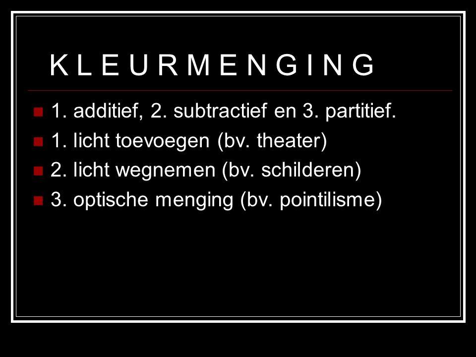 K L E U R M E N G I N G 1. additief, 2. subtractief en 3. partitief.