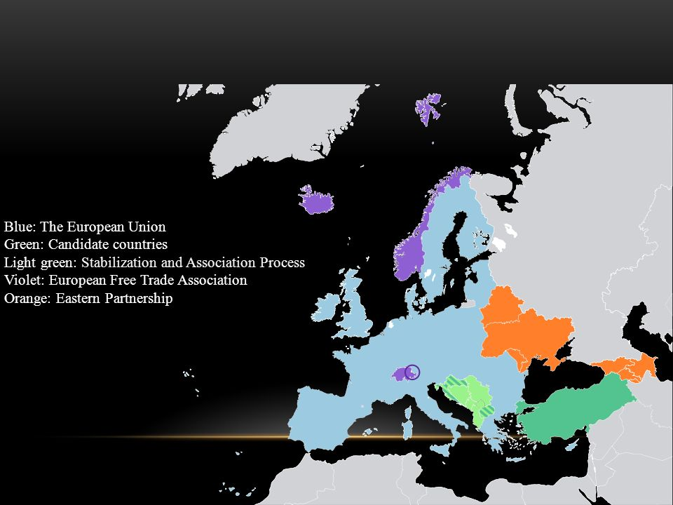 Blue: The European Union Green: Candidate countries Light green: Stabilization and Association Process Violet: European Free Trade Association Orange: Eastern Partnership