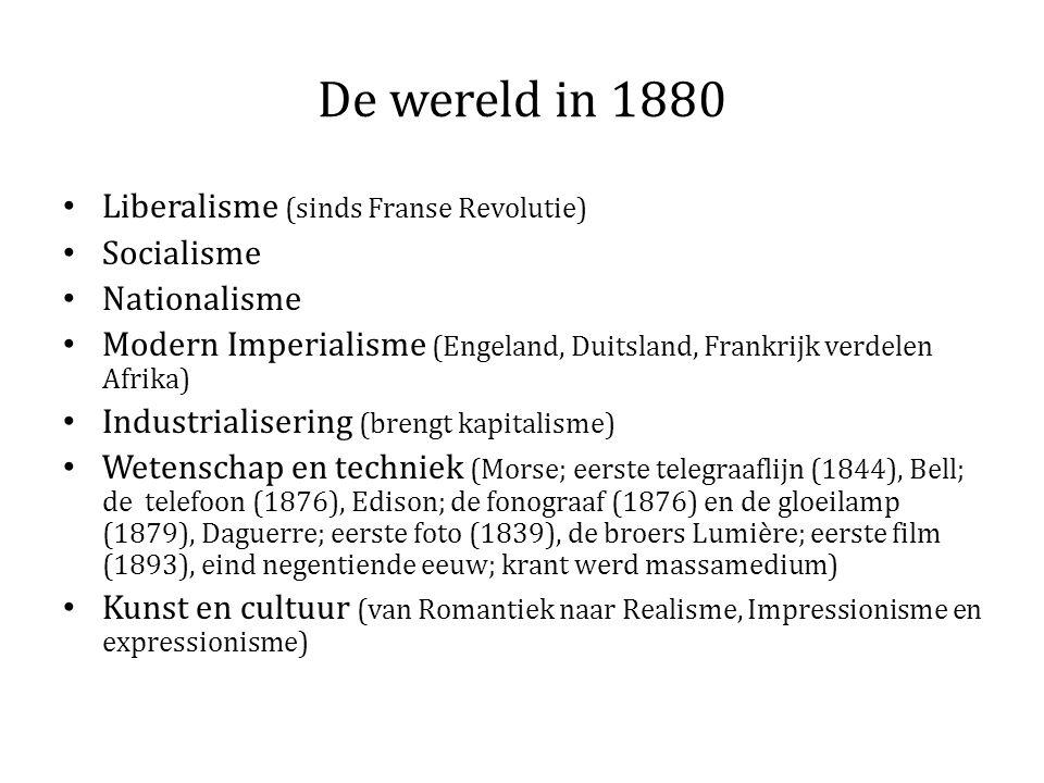 De wereld in 1880 Liberalisme (sinds Franse Revolutie) Socialisme