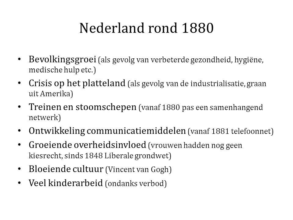 Nederland rond 1880 Bevolkingsgroei (als gevolg van verbeterde gezondheid, hygiëne, medische hulp etc.)