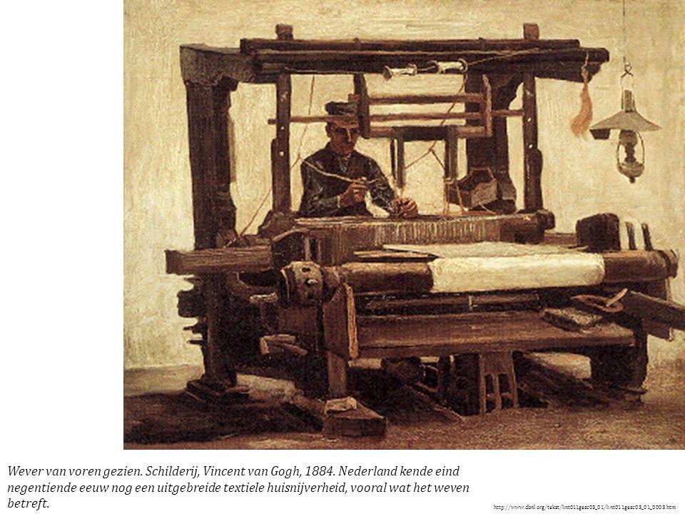De thuisweverij was vooral geconcentreerd in de dorpen rond textielcentra als Eindhoven en Helmond. Zo telde het dorp Nuenen omstreeks 1880 op een bevolking van zo n 2500 zielen ruim 400 personen die zich beroepshalve in min of meerdere mate met de thuisweverij bezighielden. In veelal kleine behuizingen stond in de weefkamer het getouw opgesteld, waarbij raam en gewitte muren dienden om zo veel mogelijk van de natuurlijke lichtinval te kunnen profiteren. De houten weefgetouwen waren toentertijd vrijwel alle voorzien van een schietspoelinrichting, zoals hier op dit schilderij te zien. In de lemen vloer is een deel van de trapinrichting weggewerkt, zodat het geheel minder hoogte in beslag nam. Rechts een schematische voorstelling van de inrichting en toebehoren voor schictspoelinrichting. De schietspoel (1), met daarin het pijpje garen (3), wordt door het trekken aan de klos (8), van de ene kant van de schuifbak (5) in de lade (2) voor de audere kont 'geschoten'. De klos is door een samenstel van touwen (7) verbonden met een in de schuifbak beweegbaar plankje (6), met daaraan een leren lus waarwee de spoel wordt opgevangen en weggeschoten.
