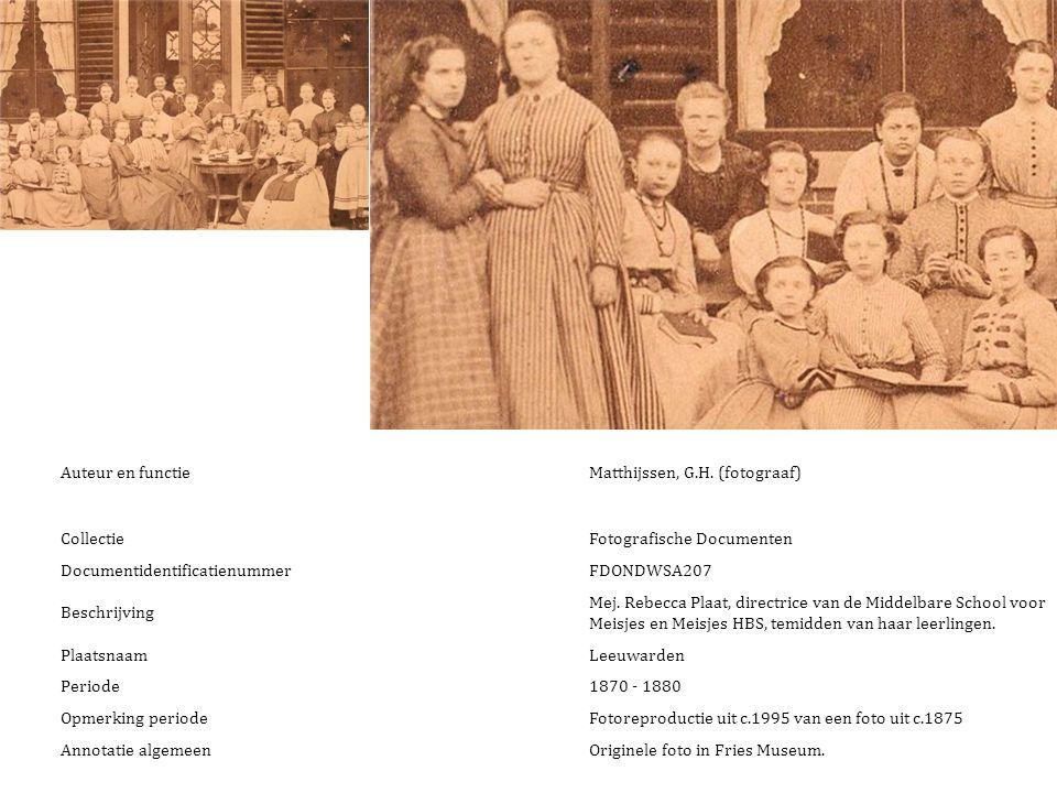 Auteur en functie Matthijssen, G.H. (fotograaf) Collectie. Fotografische Documenten. Documentidentificatienummer.