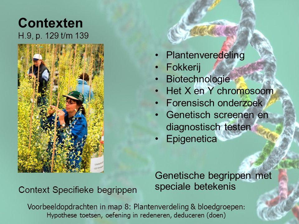 Contexten H.9, p. 129 t/m 139 Plantenveredeling Fokkerij