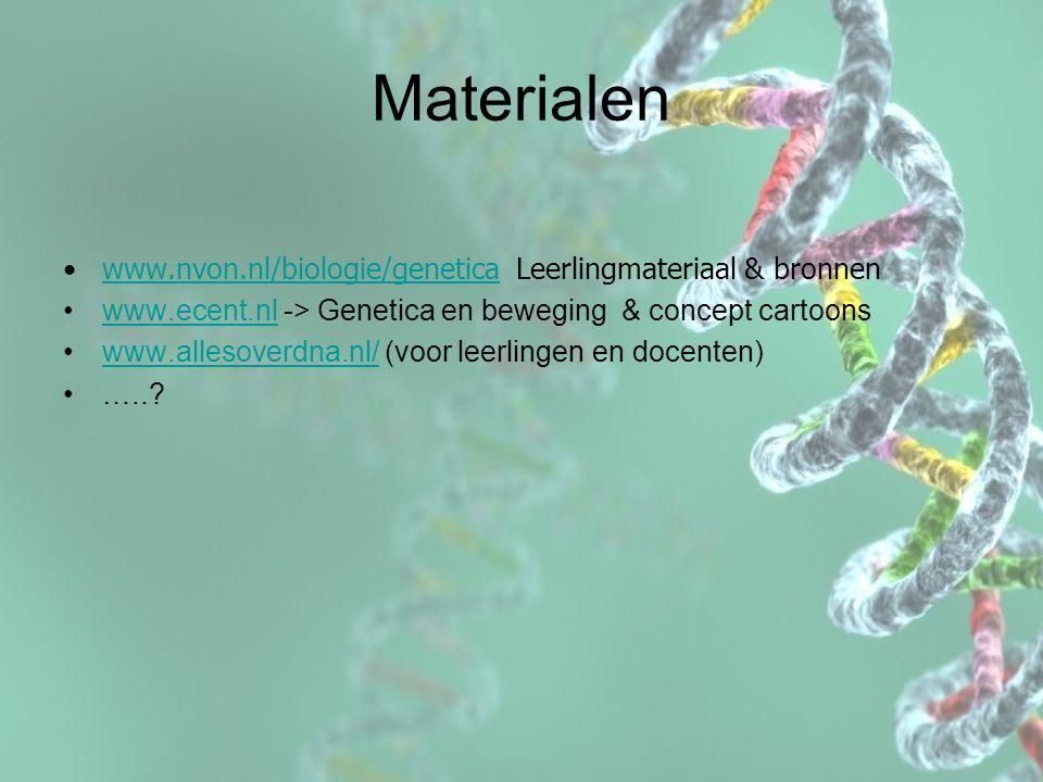 Materialen www.nvon.nl/biologie/genetica Leerlingmateriaal & bronnen