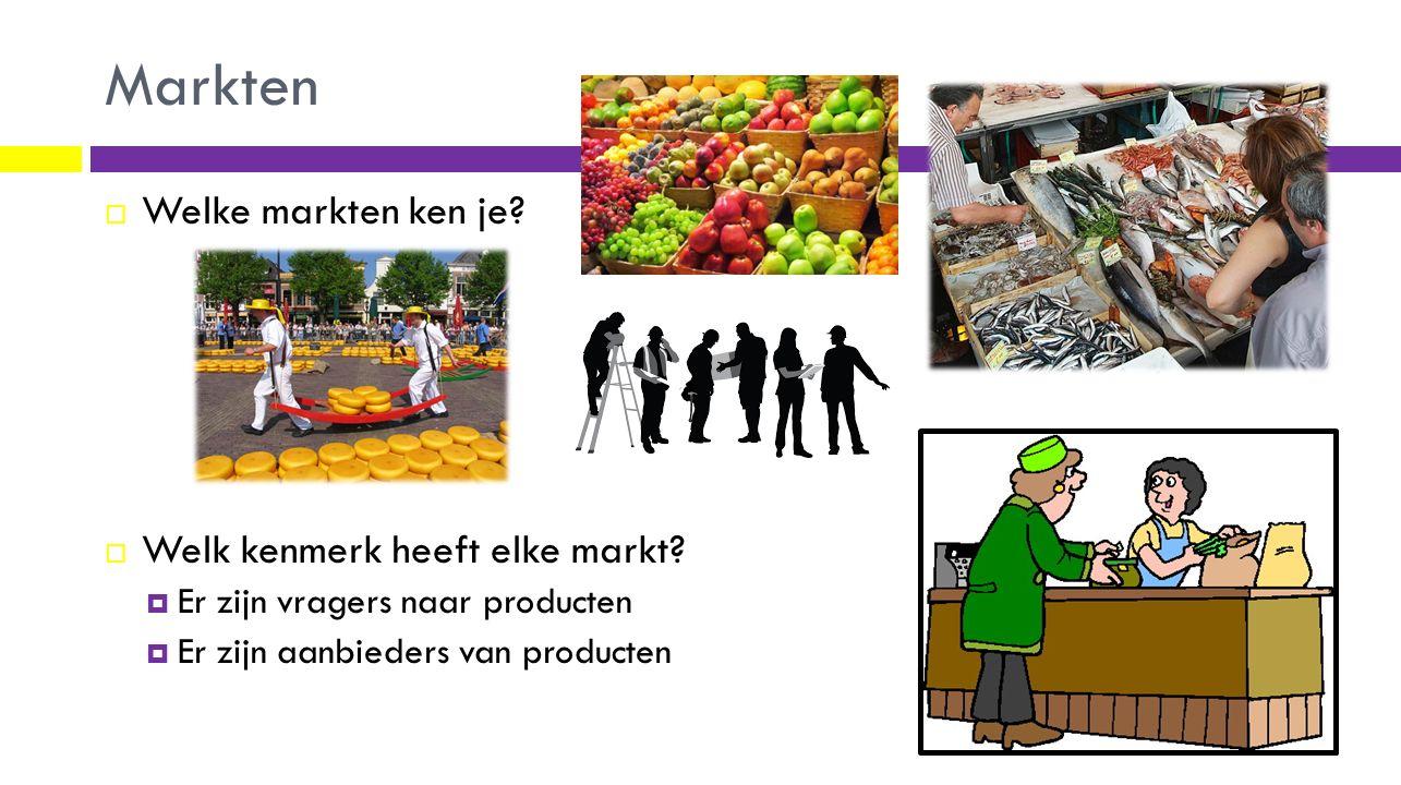 Markten Welke markten ken je Welk kenmerk heeft elke markt