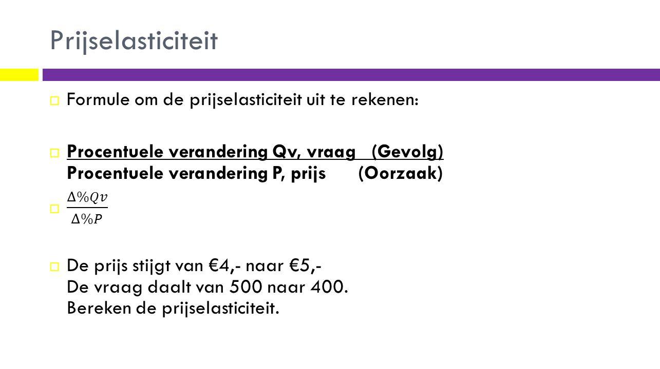 Prijselasticiteit Formule om de prijselasticiteit uit te rekenen: