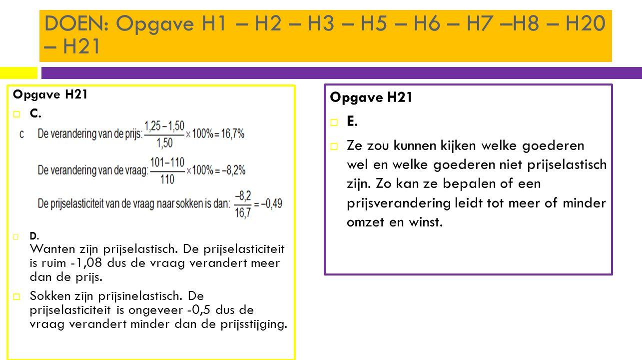 DOEN: Opgave H1 – H2 – H3 – H5 – H6 – H7 –H8 – H20 – H21