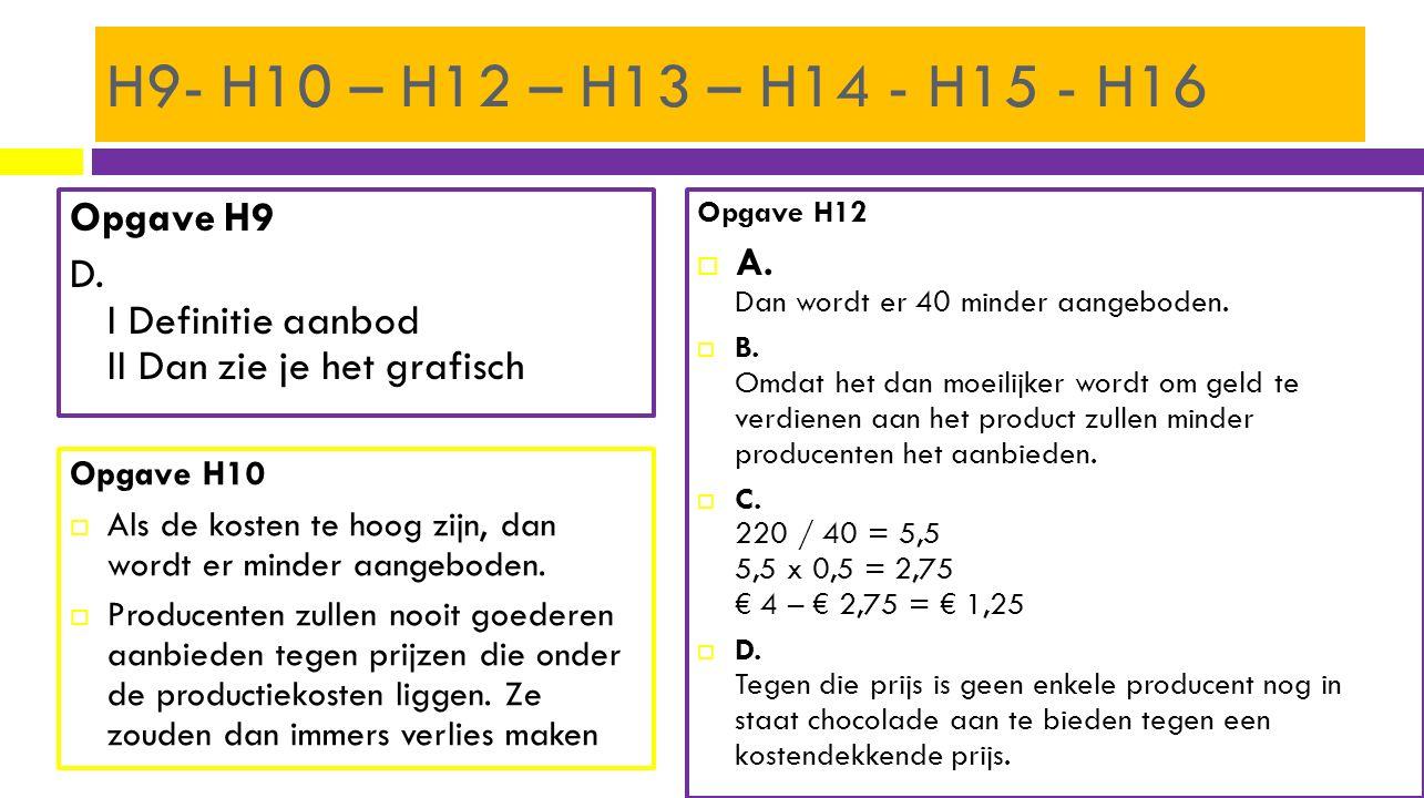 H9- H10 – H12 – H13 – H14 - H15 - H16 Opgave H9 D. I Definitie aanbod II Dan zie je het grafisch Opgave H12.