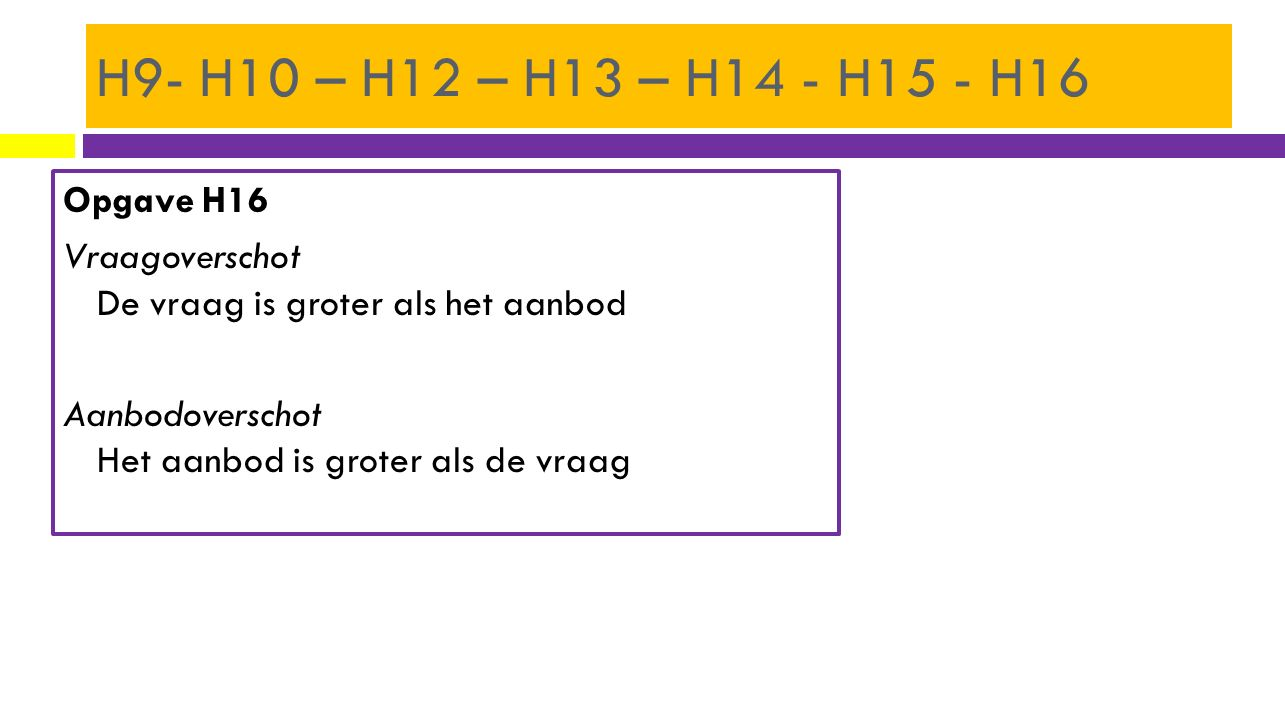 H9- H10 – H12 – H13 – H14 - H15 - H16 Opgave H16 Vraagoverschot De vraag is groter als het aanbod Aanbodoverschot Het aanbod is groter als de vraag
