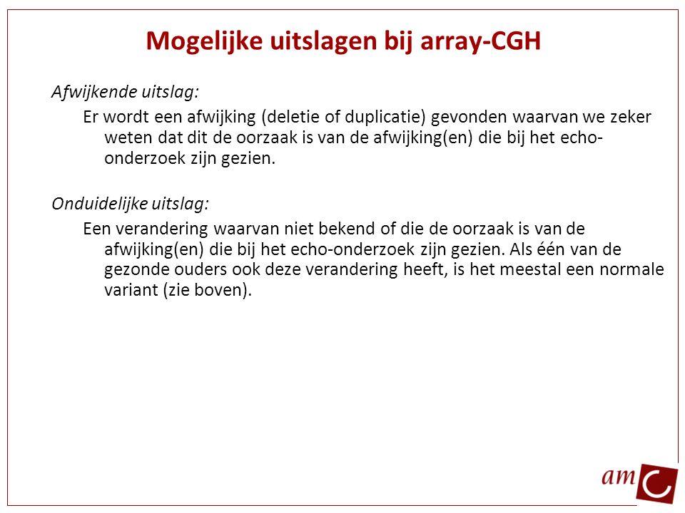 Mogelijke uitslagen bij array-CGH