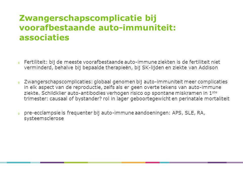 Zwangerschapscomplicatie bij voorafbestaande auto-immuniteit: associaties