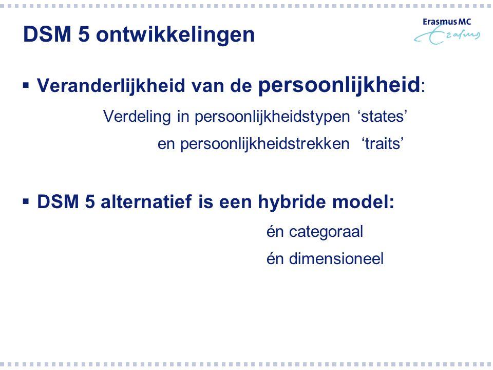 DSM 5 ontwikkelingen Veranderlijkheid van de persoonlijkheid: