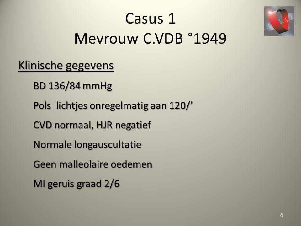 Casus 1 Mevrouw C.VDB °1949 Klinische gegevens BD 136/84 mmHg