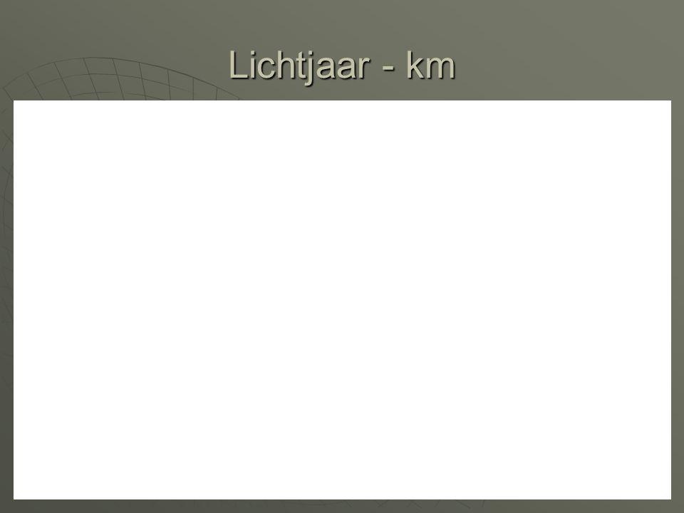 Lichtjaar - km De afstand die het licht aflegt aan 300.000 km/s in een jaar tijd.