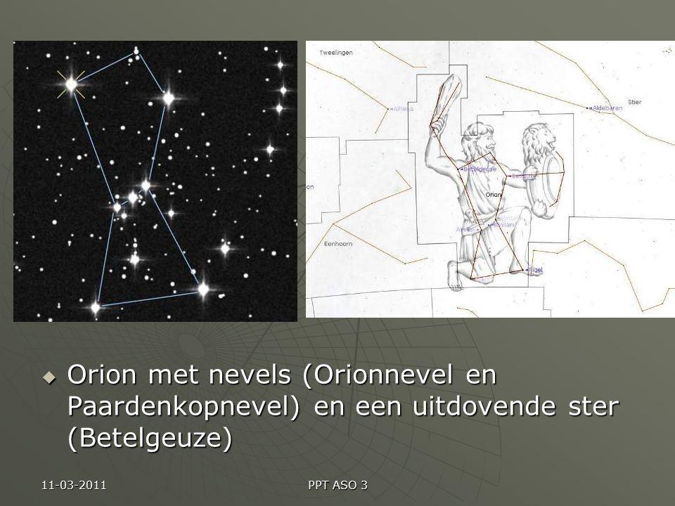 Orion met nevels (Orionnevel en Paardenkopnevel) en een uitdovende ster (Betelgeuze)