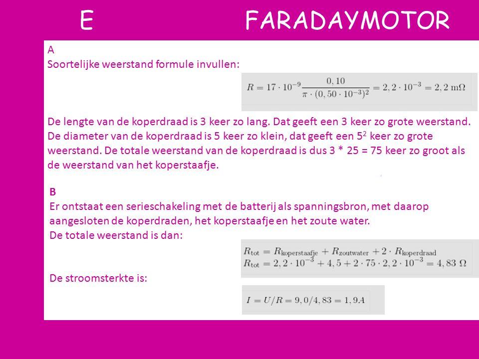 E FARADAYMOTOR A Soortelijke weerstand formule invullen: