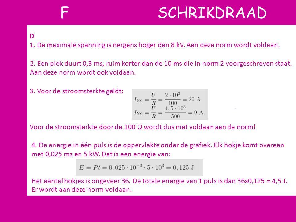 F SCHRIKDRAAD D. 1. De maximale spanning is nergens hoger dan 8 kV. Aan deze norm wordt voldaan.