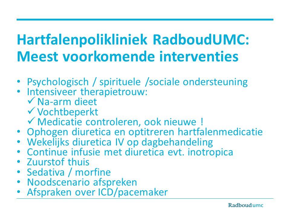 Hartfalenpolikliniek RadboudUMC: Meest voorkomende interventies