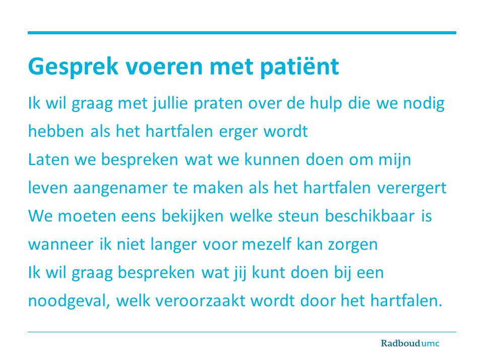 Gesprek voeren met patiënt