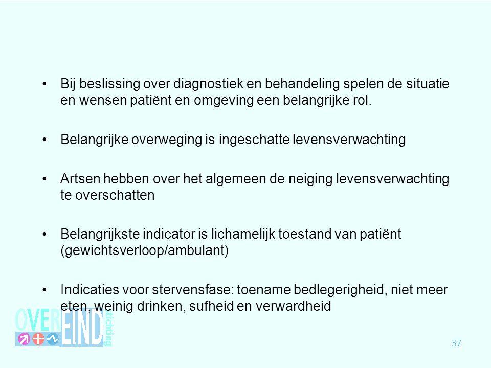 Bij beslissing over diagnostiek en behandeling spelen de situatie en wensen patiënt en omgeving een belangrijke rol.