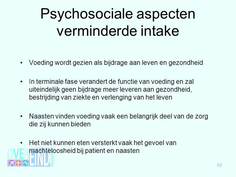 Psychosociale aspecten verminderde intake