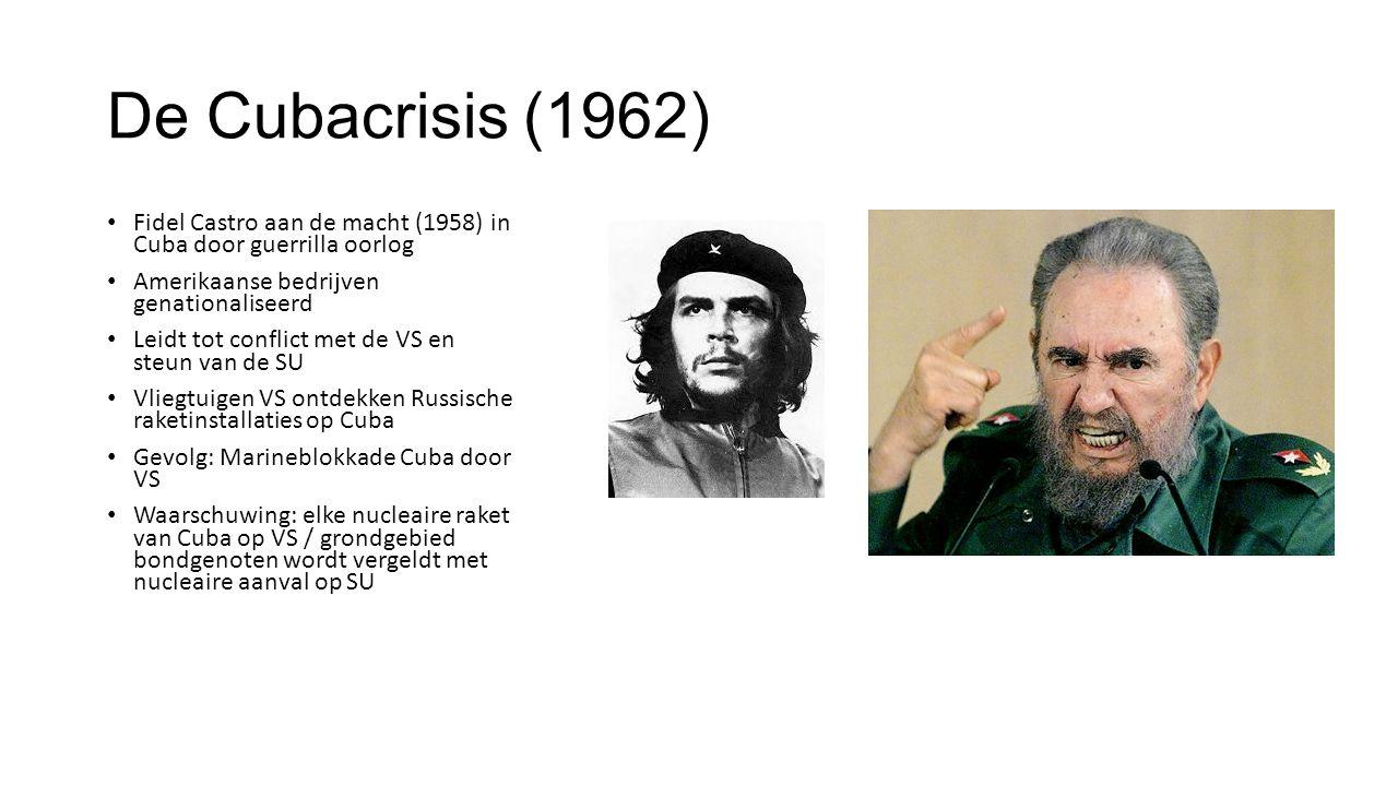 De Cubacrisis (1962) Fidel Castro aan de macht (1958) in Cuba door guerrilla oorlog. Amerikaanse bedrijven genationaliseerd.