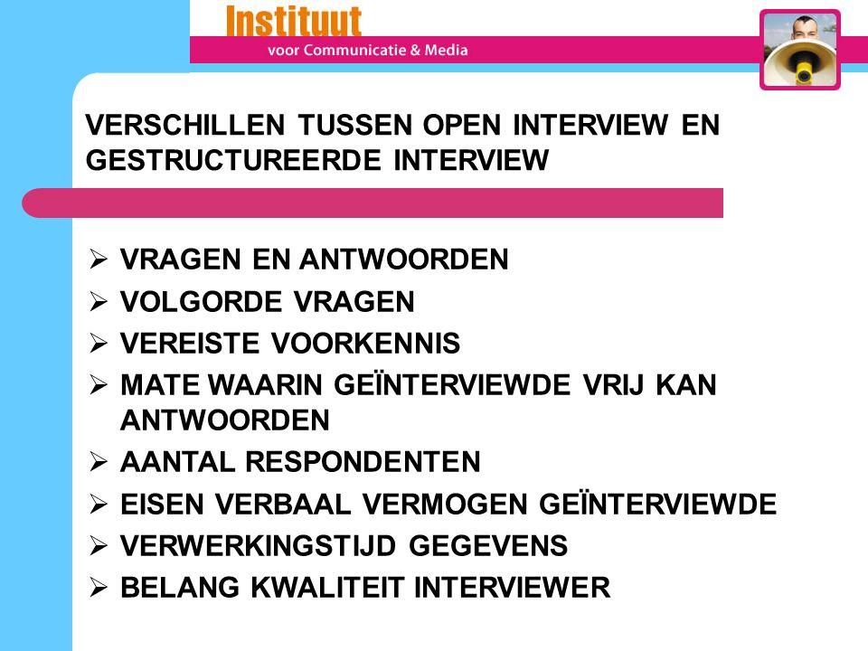 VERSCHILLEN TUSSEN OPEN INTERVIEW EN GESTRUCTUREERDE INTERVIEW