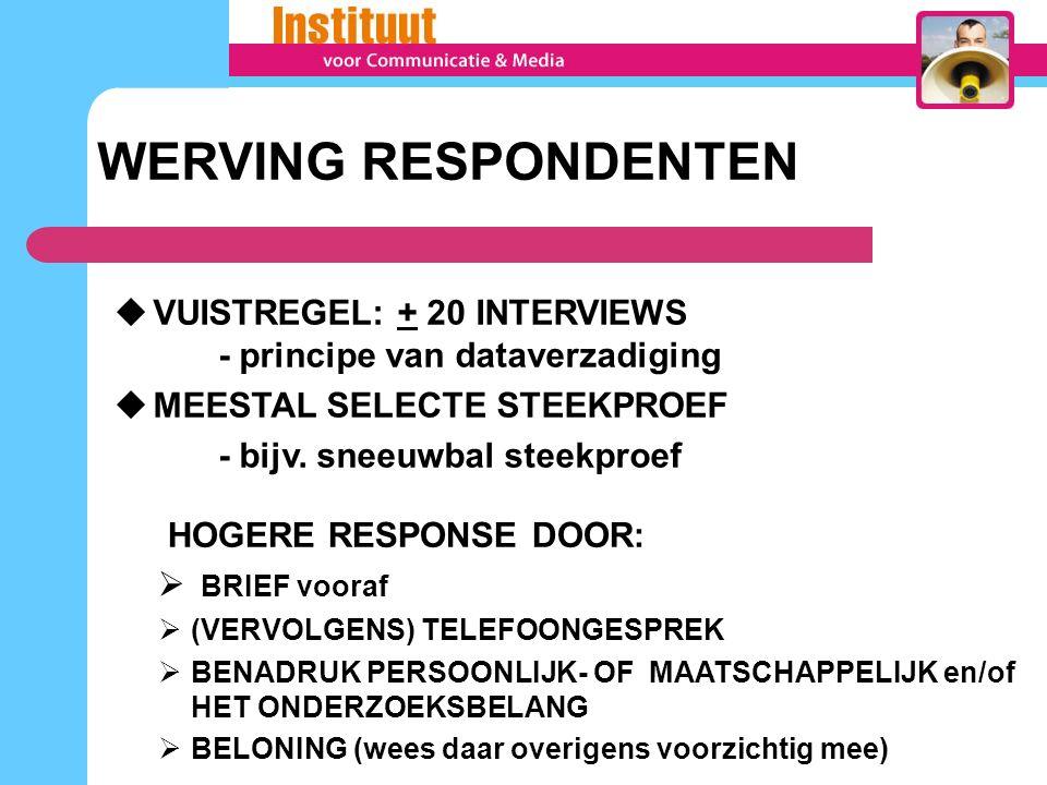 WERVING RESPONDENTEN VUISTREGEL: + 20 INTERVIEWS - principe van dataverzadiging. MEESTAL SELECTE STEEKPROEF.