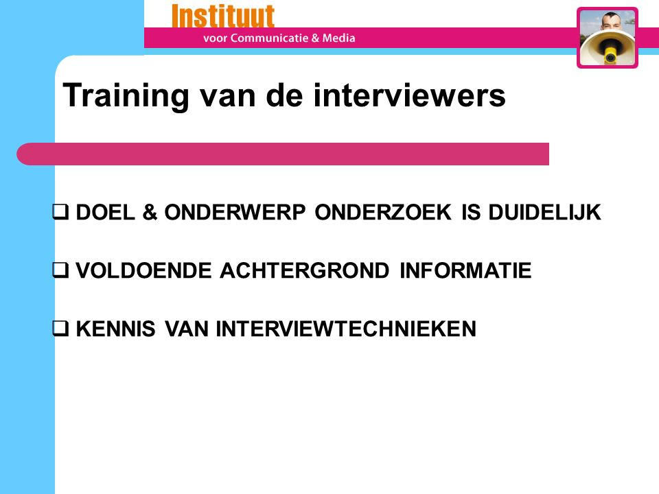 Training van de interviewers