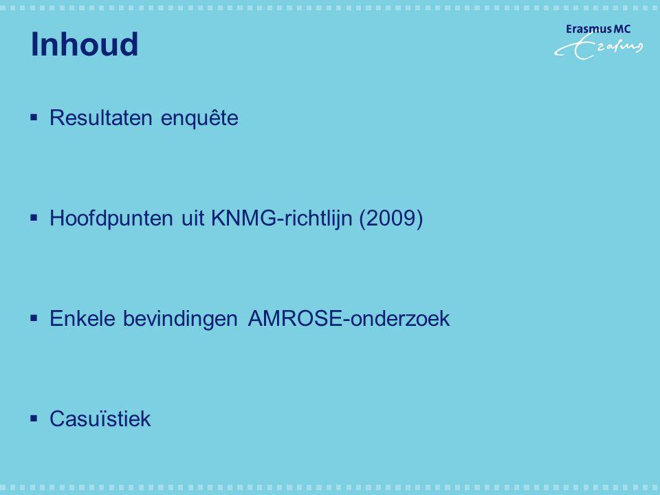 Inhoud Resultaten enquête Hoofdpunten uit KNMG-richtlijn (2009)