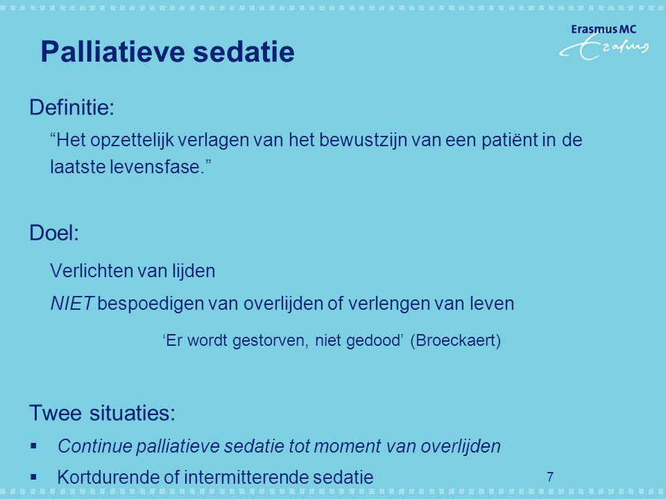 Palliatieve sedatie Definitie: Doel: Verlichten van lijden