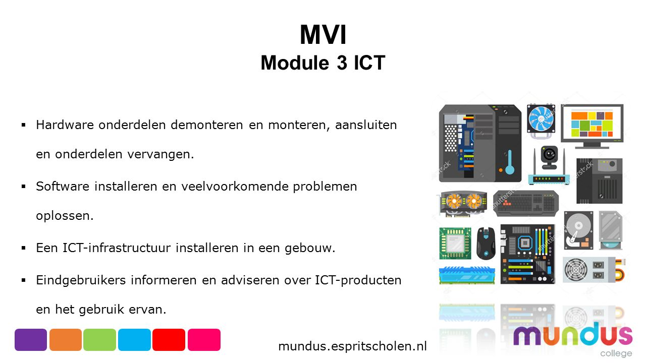 MVI Module 3 ICT. Hardware onderdelen demonteren en monteren, aansluiten en onderdelen vervangen.