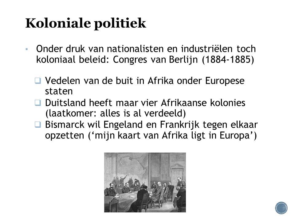 Koloniale politiek Onder druk van nationalisten en industriëlen toch koloniaal beleid: Congres van Berlijn (1884-1885)