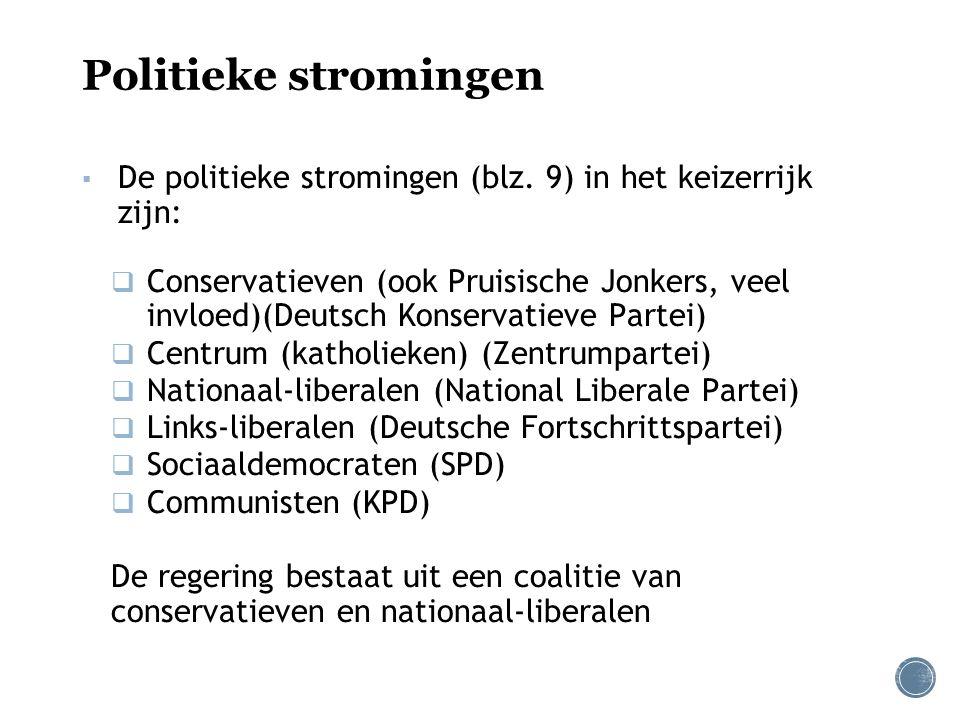 Politieke stromingen De politieke stromingen (blz. 9) in het keizerrijk zijn: