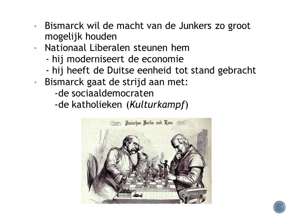 Bismarck wil de macht van de Junkers zo groot mogelijk houden