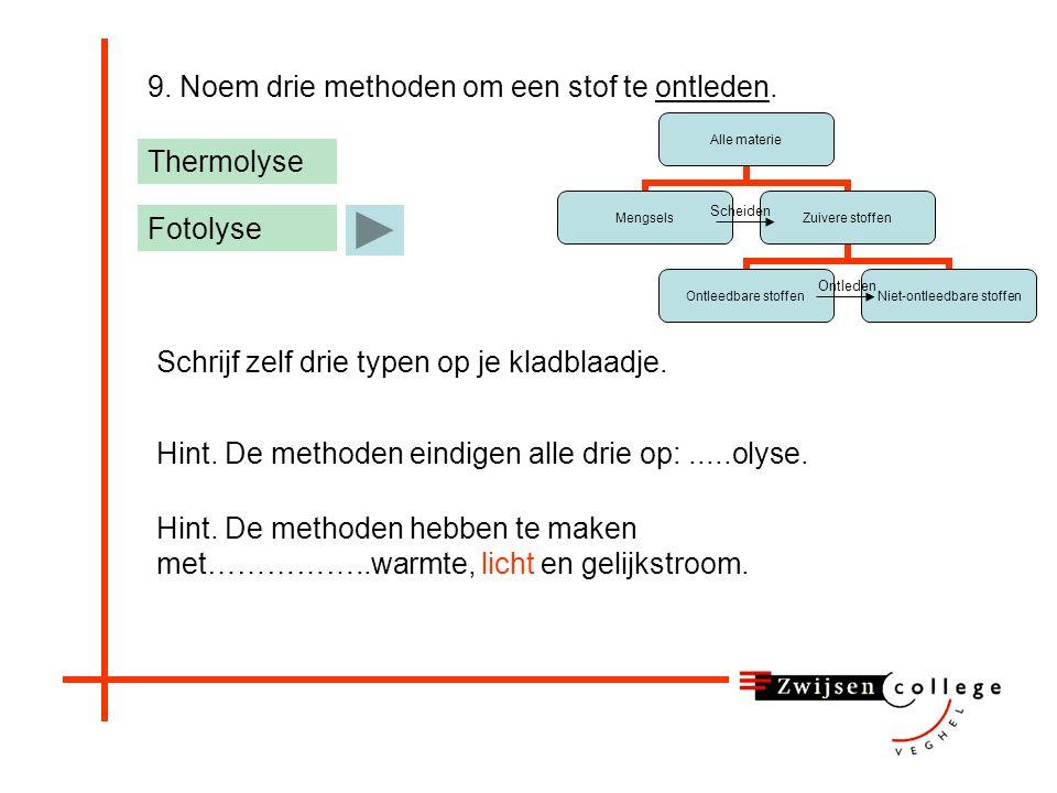 9. Noem drie methoden om een stof te ontleden.